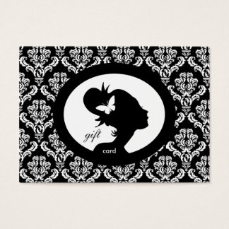 Salon Gift Card Butterfly Woman Silhouette BW