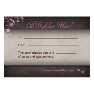 Salon Gift Card Spa Butterfly pink Business Cards