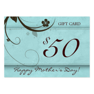 Salon Gift Card Spa Flower watery blue $50 Business Cards
