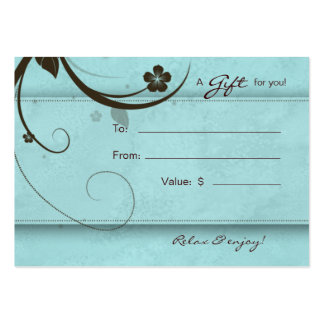 Salon Gift Card Spa Flower watery blue Pack Of Chubby Business Cards