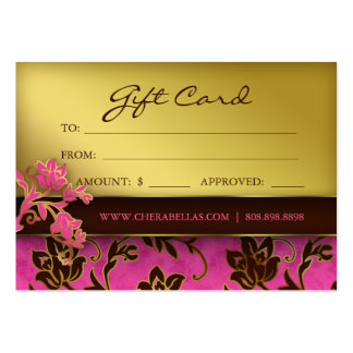 Salon Gift Card Spa Gold Floral Pink Brown Business Card Templates