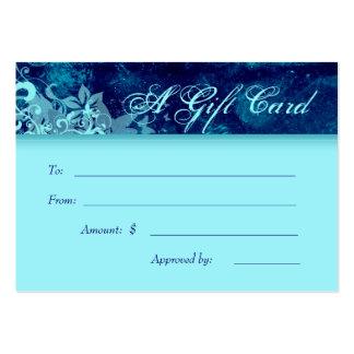 Salon Gift Card Spa Grunge Floral Blue Denim Business Cards