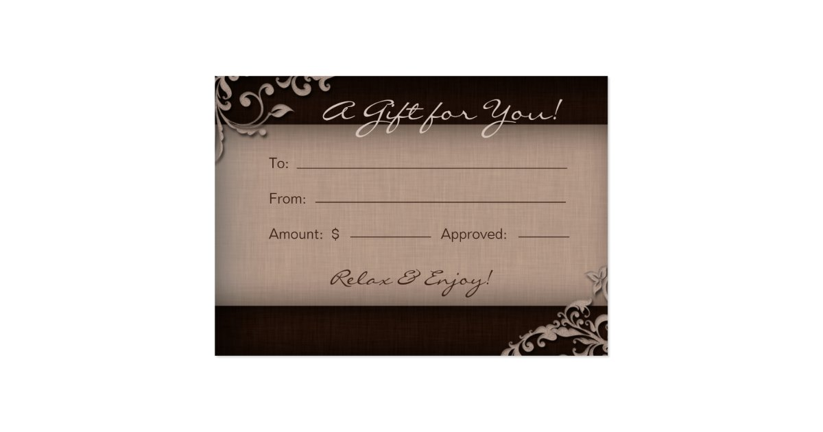Floral spa beauty salon gift certificate large business cards pack salon gift card spa linen floral brown beige pack of chubby business cards zazzle reheart Image collections