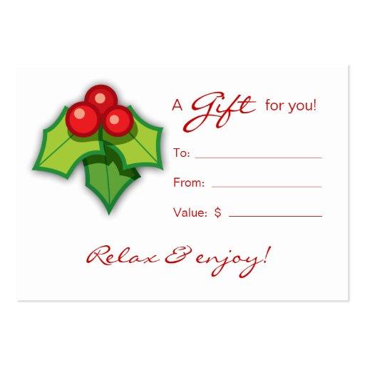 Salon Gift Card Spa Xmas Holly Business Cards
