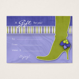 Salon Gift Card Spa Xmas Holly Green Purple Boot