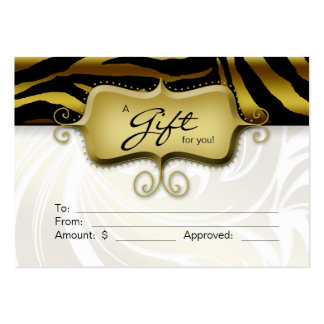 Salon Gift Card Spa Zebra Animal Gold Black 2 Business Card Template