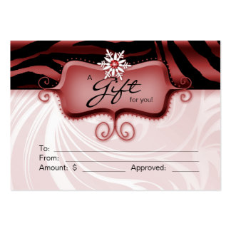 Salon Gift Card Spa Zebra Animal Red Black Xmas 2 Business Card Template