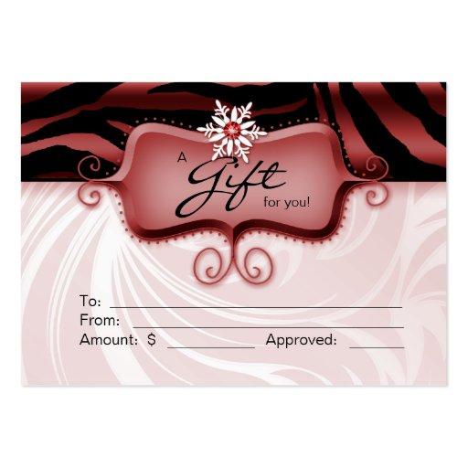 Salon Gift Card Spa Zebra Animal Red Black Xmas 2 Business Card Template
