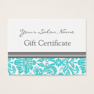 Salon Gift Certificate Aqua Grey Damask
