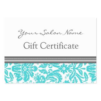 Salon Gift Certificate Aqua Grey Damask Business Cards