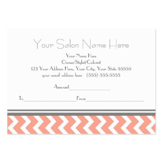 Salon Gift Certificate Coral Grey Chevron Pack Of Chubby Business Cards