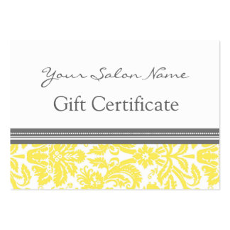 Salon Gift Certificate Yellow Grey Damask Pack Of Chubby Business Cards