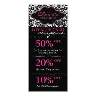 Salon Marketing Cards Damask Pink Floral Rack Card
