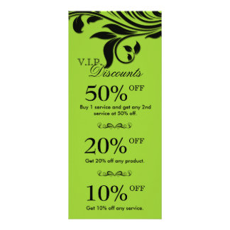 Salon Marketing Cards Elegant Floral Lime Black