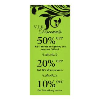 Salon Marketing Cards Elegant Floral Lime Black Rack Card Template
