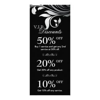 Salon Marketing Cards Elegant Floral Silver Black Personalized Rack Card