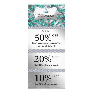 Salon Marketing Cards Jewelry Crown Sparkle Teal Customized Rack Card