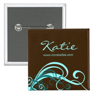 Salon Name Tag Button Brooch blue swirls