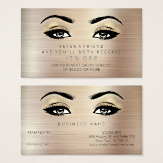 Salon Referential Card Lashes Makeup Gold Sepia