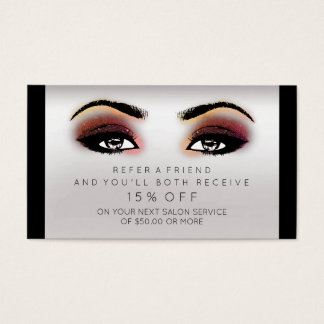 Salon Referential Card Lashes Makeup Maroon Gray