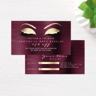 Salon Referral Card Glitter Gold Burgundy  Lashes