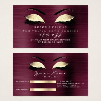 Salon Referral Card Glitter Gold Burgundy Lashes 1