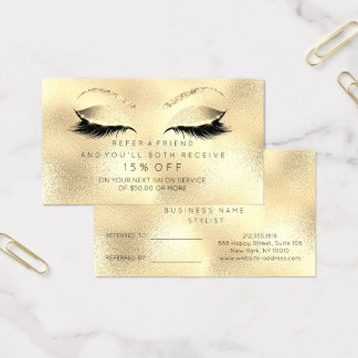 Salon Referral Card Glitter Golden Sepia Lashes