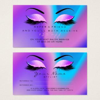 Salon Referral Card Glitter Miami Pink Lashes 1