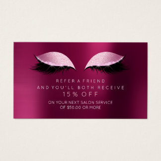 Salon Referral Card Pink Peony Rose Lashes