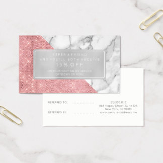 Salon Referral Card Pink Rose White Gray Marble