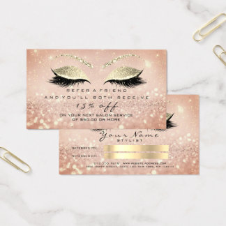 Salon Referral Card Skinny Gold Rose  Lashes