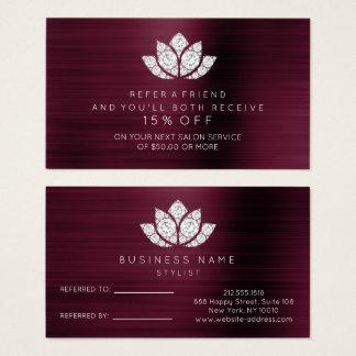 Salon Referral Card White Diamond Lotus Burgundy