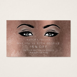 Salon Referrential Card Rose Copper Lashes Makeup