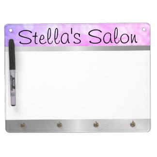 Salon Silver Metal Violet Lights Dry Erase Board