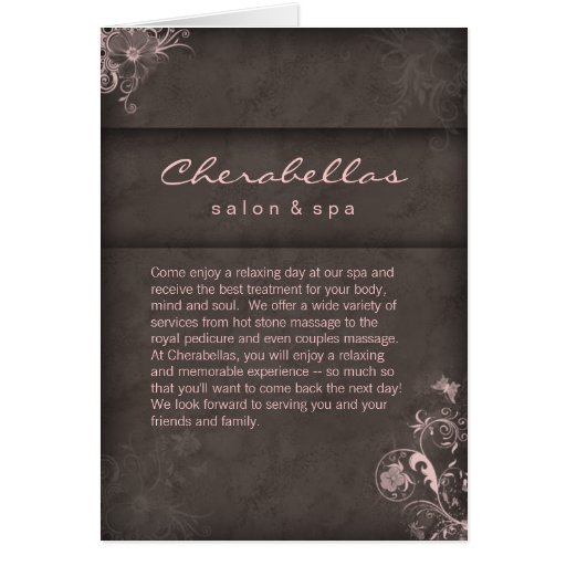 Salon Spa Brochure Pink Taupe Floral Cards