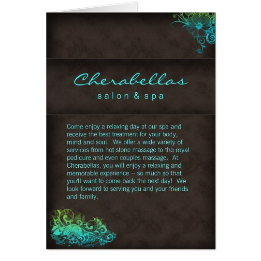 Salon Spa Brochure Turquoise Blue Green Card