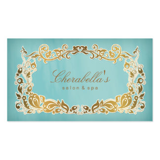 Salon Spa Business Card Floral Blue Gold