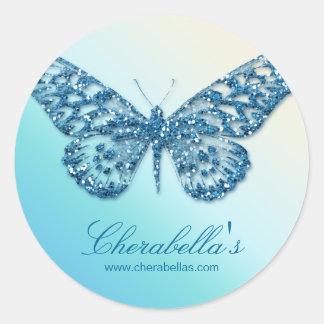 Salon spa butterfly sticker blue jewelry