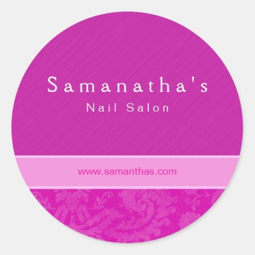 Salon spa damask floral sticker pink zazzle for Stickers salon