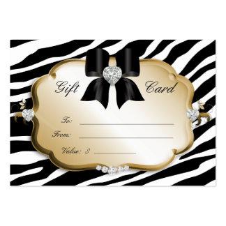 Salon Spa Gift Card Valentine Zebra Gold Black Business Card Templates
