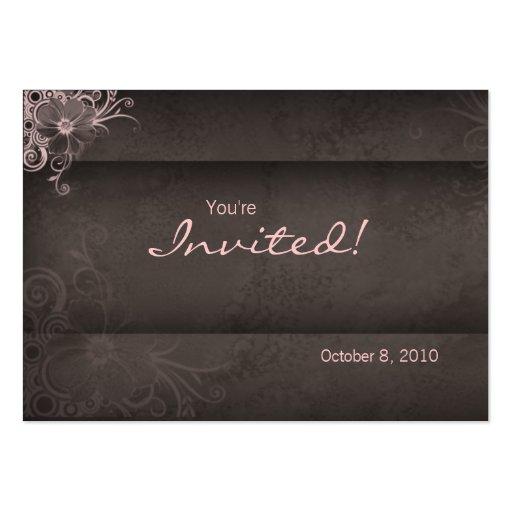Salon spa Invitation pink brown Postcard Business Card Template