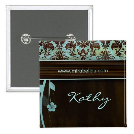 Salon Spa Name Tag Button Brooch damask blue