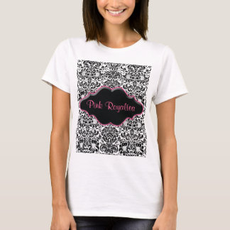Salon Spa T Shirt Damask Black White Pink