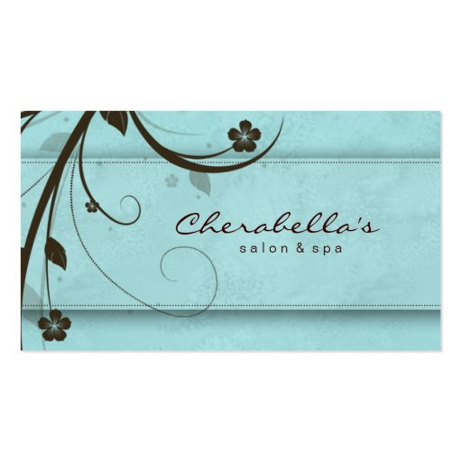 Salon Spa Watery Blue Floral Elegant Business Card Template