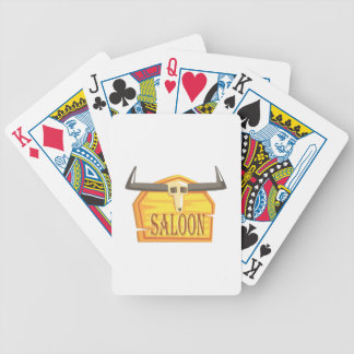 Saloon Sign With Dead Head Drawing Isolated On Whi Bicycle Playing Cards