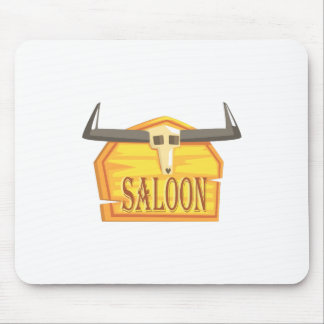 Saloon Sign With Dead Head Drawing Isolated On Whi Mouse Pad