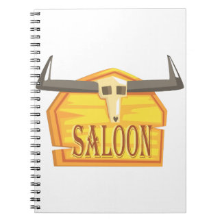 Saloon Sign With Dead Head Drawing Isolated On Whi Notebook
