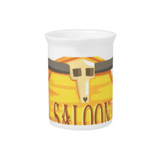 Saloon Sign With Dead Head Drawing Isolated On Whi Pitcher