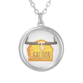 Saloon Sign With Dead Head Drawing Isolated On Whi Silver Plated Necklace