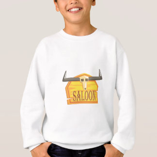 Saloon Sign With Dead Head Drawing Isolated On Whi Sweatshirt